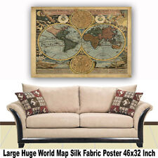 """Poster World Map Large Huge Giant Wall Print Silk Fabric Decor 46""""x32"""" Inch T31"""
