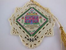 """Lenox First Christmas in Our  New Home  1997 Fine Porcelain Ornament  3"""" x  3.5"""""""