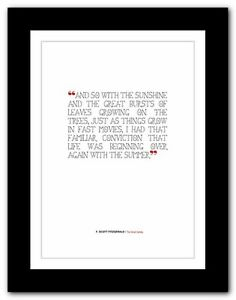 F. SCOTT FITZGERALD The Great Gatsby ❤ quote poster art print inspirational #23