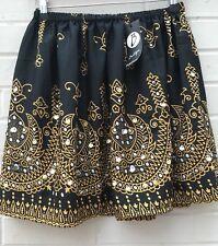New Boohoo Black Skater Gold Sequin Embellished Skirt Size 8