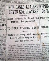 CHICAGO BLACK SOX World Series of Baseball Scandal Case Ends ? 1921  Newspaper