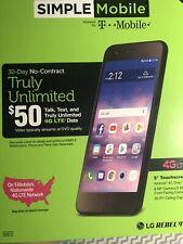 LG Rebel 4 - 16GB - Black (Simple Mobile) SMLML211BGP5 (GSM)