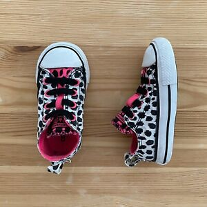 CONVERSE All Star Black/White/Hot Pink No Lace Sneakers Size 6 Toddler