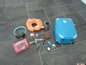our generation well travelled playset-suitcase,toiletries,wash bag,neck pillow+