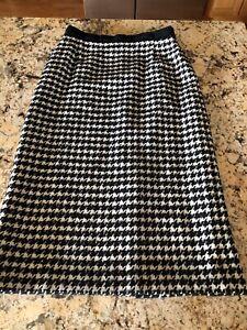 Escada Margaretha Ley Black White Houndstooth Skirt Size 42 EUC