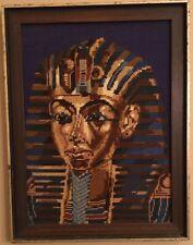 Vintage Completed Framed King Tut Tutankhamen Cross Stitch Needlepoint Wall Art