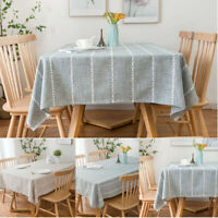 Square Rectangular Tablecloth Stripe Dining Kitchen Table Cloth Cover Home Decor