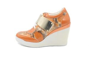 LucyToni Orange Print with Metallic Gold Buckle High Wedged Trainer Pumps