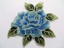 Embroidered guipure lace applique patch trim. 1 piece blue / green