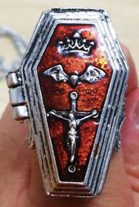 Rare Gothic Jesus Cross, Crown openable Coffin, & Dracula Bat Ring. From UK