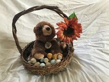 Woven Wooden Easter Basket With Handle and Detachable Floral Decal