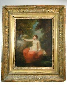 """Attribué à Narcisse DIAZ DE LA PEÑA (1807-1876) H/T """"Leda & le cygne"""" cadre doré"""