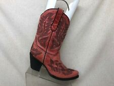 Corral Distress Red Leather Cowboy Western Boots Womens Size 10 M Style 1158