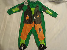 Halloween Green Zip Front Sleepwear Pajama Cotton 3-6 Month NWT