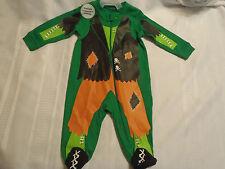 Halloween Green Zip Front Sleepwear Pajama Cotton 3-6 Month NWT