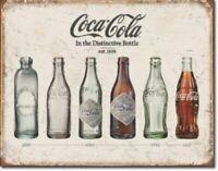 Coca Cola Coke Bottle Evolution Metal Tin Ad Sign Soda Pop Kitchen Picture Decor