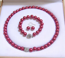 10mm South Sea Rose Shell Pearl Round Beads Necklace Bracelet Earrings Set gift