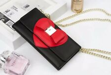Black W Red Heart Wallet Purse Detachable Case Straps & Mirror For iPhone 6 6S
