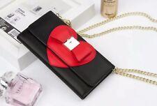 Black Wallet Purse Detachable Case Shoulder Straps & Mirror For iPhone 8,7,6S,6