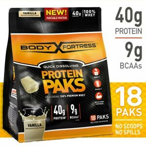 Body Fortress Protein Paks, Vanilla, 40g protein, 18 packs ...0048