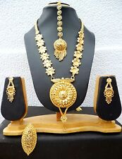 22K gold Plated Flower Pendant 11'' Long IndianNecklace Earrings Tikka Ring v