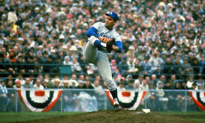 SANDY KOUFAX CLASSIC PITCHING DURING WORLD SERIES WIN