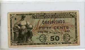 US / MPC  50  Cents Series  481  Plate  49  Circulated Banknote 7707d