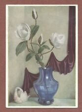 "Leo Klin, Painter   ""Magnolia""  Still life  vase  maroon drape  Pallas    RK621"
