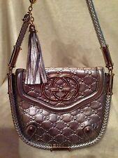 GUCCI BLONDIE BRITT TASSEL Guccimisso SILVER Metallic Handbag - SMALL SIZE -MINT