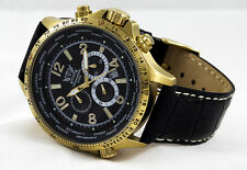 LUXURY CHRONOGRAPH Cavadini Watch Tachymeter Turnable Ring IP-Gold plated NEW
