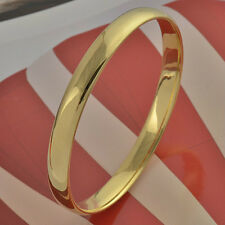 Simple 9K real Yellow Gold Filled Women's Smooth Bangle Bracelet,Size:60*8mm