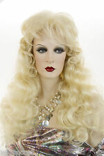 Striking Long wavy, Slightly Layered with Bangs Blonde Brunette Red Wavy Wigs