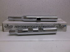 "Chrome 3"" Rush Mufflers with 2"" Baffles for 2000-2006 Harley Fat Boy Deuce -$317"