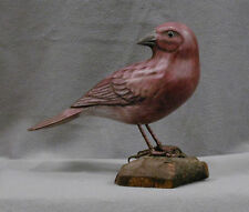 Artist Signed Hand Carved Wooden State Bird of New Hampshire Purple Finch