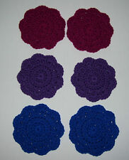Set of 6 Crocheted Coasters -- Magenta, Dark Iris and Royal Blue