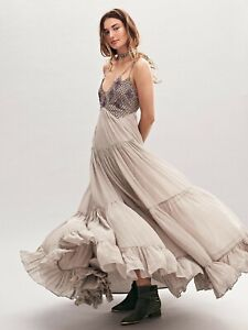 Free People Lost In A Dream Maxi Dress Desert Silver Size XS US2 UK 6-8