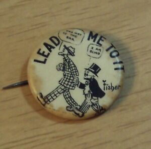 VTG 1910's 'HASSAN Cigarettes' Pinback Button~MUTT and JEFF~'Lead Me To It'~