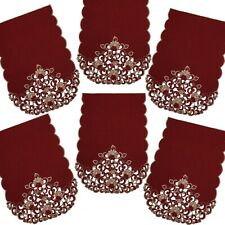 Pack 6 Burgundy Gold Cutwork Chair Backs Covers Protectors Seat Antimacassar 132
