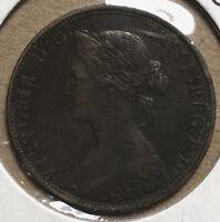1862 Great Britain Queen Victoria Half Penny Coin High Grade XF+ Condition