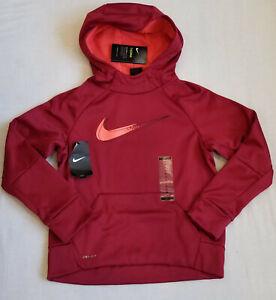Nike Big Boys Long Sleeve Fleece Hoodie Therma Hooded Pullover M MEDIUM Burgundy