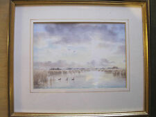 Contemporary Watercolour Painting Lake Ducks Moorland Signed Framed
