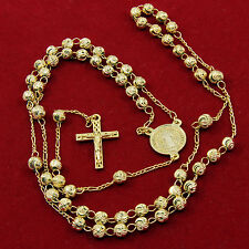 Men's 14k Gold Plated St. Benedict Rosary Prayer Beads Necklace Jesus Cross R11