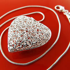 FSA949 GENUINE REAL 925 STERLING SILVER S/F ANTIQUE HEART PENDANT NECKLACE CHAIN