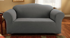 Sure Fit Loveseat Slipcover Simple Stretch Subway Box Style Cushion Slate Gray