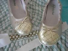 NATURINO BALLERINAS Schuhe Slippers LEDER Gr. 32 SILBER GOLD festlich TOP!!!