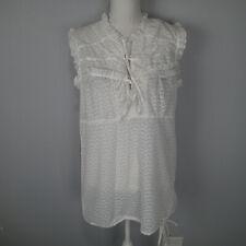 Mandarin Blue White Sleeveless Shirt Women's Size xl  cotton blouse top ruffle