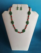 "Aventurine large & small beads and red Coral beads approximately 18"" length"
