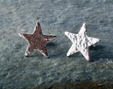 STERLING SILVER HAMMERED STAR EARRINGS
