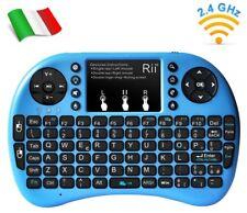 Rii Mini i8+ Wireless - Tastiera retroilluminata per Smart TV, Mini PC, blu