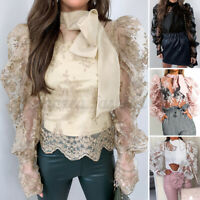 Élégant Femme Loose Manche Longue Couture en Dentelle Sheer Shirt Haut Tops Plus